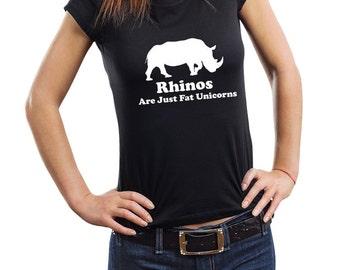 Rhinos Are Just Fat Unicorn T-Shirt Funny Woman Top Tee Shirt
