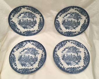 Set of 4 Bread & Butter Plates by Churchill - Made in England - PATTERN /The Brook Blue