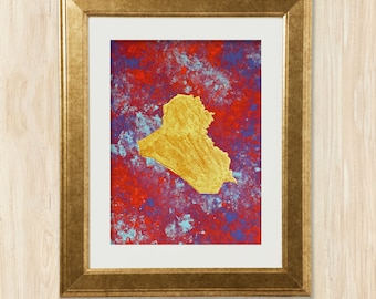 Original Hand-Painted Iraq Wall Art in Gold Leaf on Abstract Pop Background | Arab Map Series | 9x12inches | Janna Love
