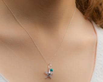 Starfish Necklace, Personalised Sterling Silver Necklace, Silver Starfish Necklace