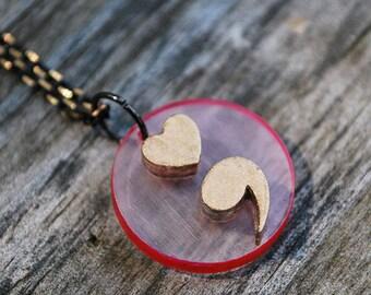 Semi Colon Pendant / Semi Colon Necklace / Punctuation Jewelry