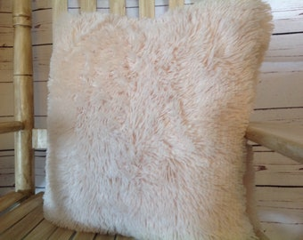 Super Soft,Long Shaggy Chic FauxFur,Warm and Elegant Soft Creme,18×18, Free Shipping..Machine wash cold