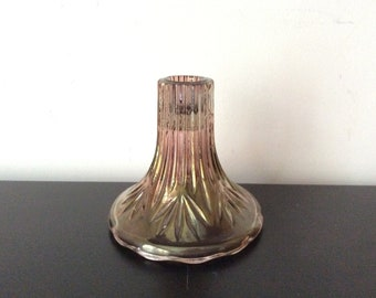 Beautiful vintage Purple Iridescent glass candle holder