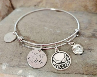 Air Force Bracelet - Air Force Wife Bracelet - Military Bracelet - USAF Bracelet - USAF Charm  - USAF Mom Bracelet - Military Wife Gift
