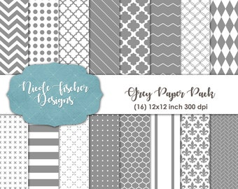 Gray Patterned Paper Pack -INSTANT DOWNLOAD