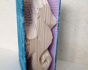 Folded Book Art Heart Seahorse Fabric Covered