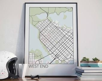 West End, Vancouver Neighbourhood Map Print