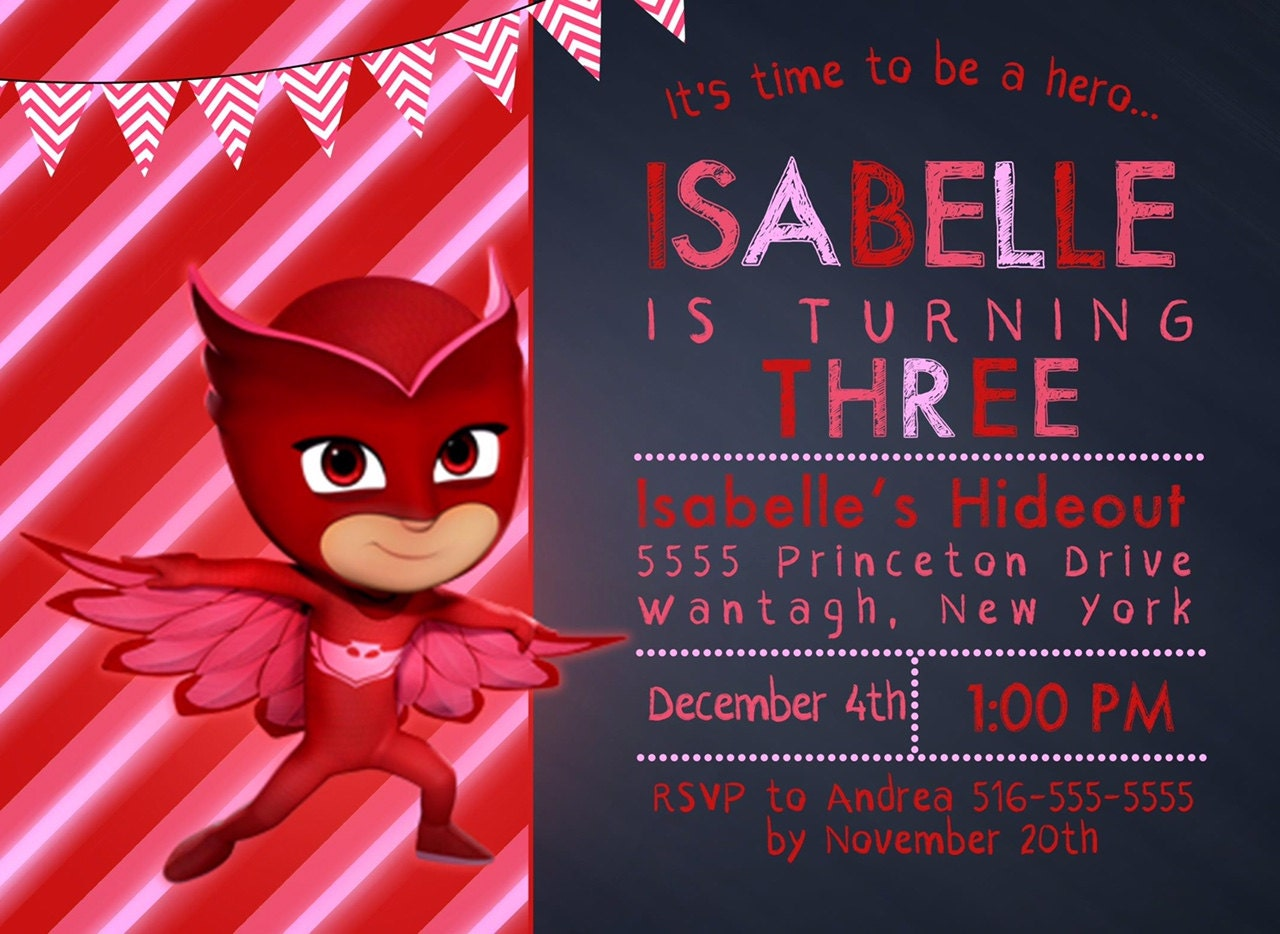 Owlette invitation free thank you card file pj masks zoom kristyandbryce Image collections