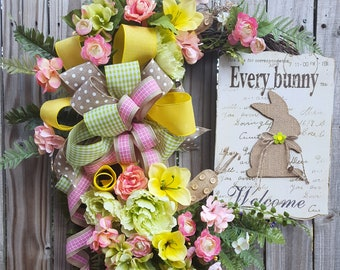 Spring Wreath, Spring Welcome Wreath, Bunny Welcom Wreath, Mother's Day Wreath, Mother's Day Welcome Wreath