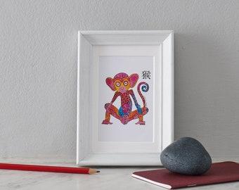Original Acrylic Painting, Miniature Painting, Animal painting Monkey Art, Chinese Zodiac Sign, Astronomy painting,  Birthday gift
