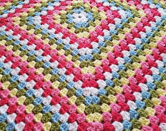 "Crocheted Granny Square Blanket 38"" x 38"""