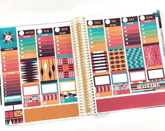 Midcentury Planner Stickers Weekly Kit - For use with Erin Condren Vertical Lifeplanner // 18