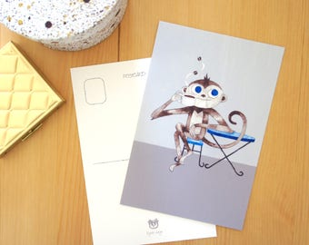 Coffee Card set- Monkey, animal postcard set, gift for coffee lovers, animal illustration, coffee art card, 4x6