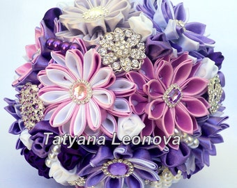 Wedding Bouquet, Brooch bouquet, purple, lilac, white, silver, 7 inches