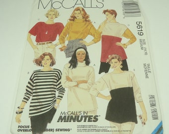 McCall's Misses Top Pattern 5619 Size 14 ,16 McCall's In Minutes For Stretch Knits Only