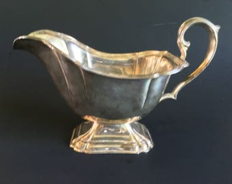 Gorgeous Silver Plate Art Deco Style Pedestal Gravy Boat with Scroll Handle
