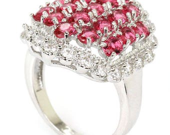 Sterling Silver Pink Raspberry Rhodolite Garnet Gemstone Ring Sz 8 With AAA CZ Accents
