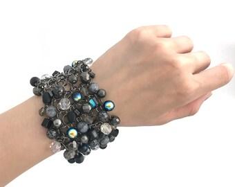 Cha Cha Bracelet, Chunky Bead Bracelet, Statement Bracelet, Wide Beaded Bracelet, Bridal, Wedding, Handmade, Black Gray, 7811BA