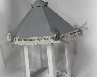 pergola gray and white ring pillow and lace