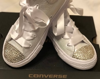 All White Bling Converse