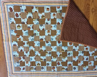 Brown and Tan Owl Baby Quilt
