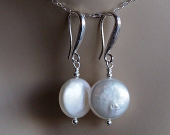 12mm White Freshwater Coin Pearl and Sterling Silver Earrings