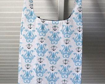 Reusable Shopping Bag, Reusable Grocery Bag, Shopping Tote Bag, Eco Friendly Bag, Cotton Shopping Bag, Market Bag, Octopus Anchor, nautical