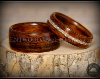"Bentwood Rings - ""Classic Couple"" Rosewood Rings with Glass Inlay using my bentwood process for very durable wood ring."