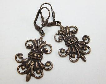 Art Deco Earrings Fleur de Lis Long Ear Dangles Vintage Bronze