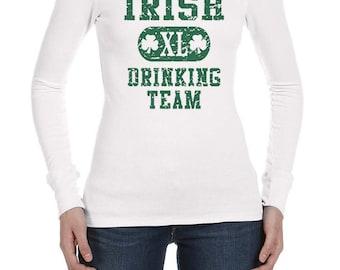 St Patrick's Day Ladies Shirt Irish Drinking Team Long Sleeve Thermal Tee T-Shirt A8727D-B8500
