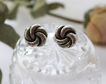 Vintage Button Stud Earrings. Handmade Up Cycled Silver Plated Post Earrings with Silver Knot Design.