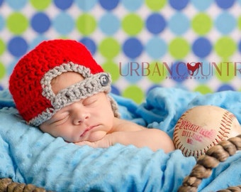 Backward Baseball Cap Hat with Visor Crochet Newborn Photo Prop