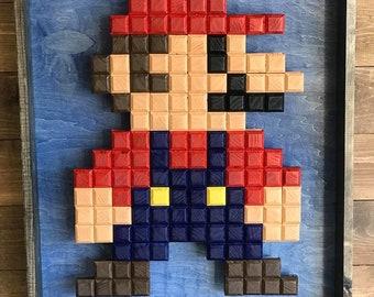 8 Bit Mario, Mario Decor, 8 bit wood art