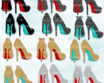 High Heel Shoes with Red & Turquoise Bottoms | Silver Gold Black Glitter Bows | Clipart | Instant Download