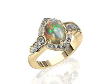 9x7mm Pure Australian Black Opal & Diamond Ring in 14K or 18K Gold 2.02TCW Sku: R2263