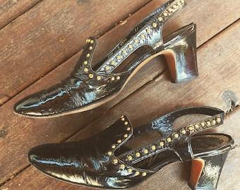 6.5-7 Studded 1960s leather slingbacks