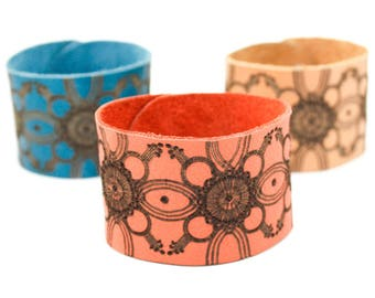 Wide Leather Cuff Bracelet - Laser Engraved Floral Pattern - Laser Cut Leather (Custom Made Bracelets - Choose Your Color and Size)