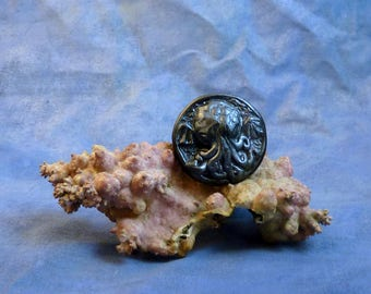 Antique Silver Cthulhu Cameo Pin, Polymer Clay Fashion Jewelry