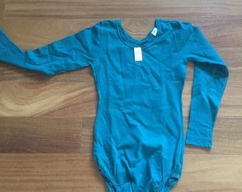 Vintage Bodysuit Leotard Teal by Danskin S M unused