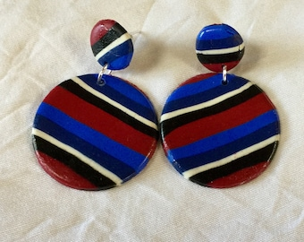 Earrings round polymer clay, black white red blue stripe