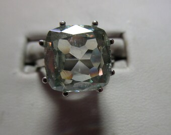 Ladies antique cushion cut large genuine moissanite fine solitaire in sterling