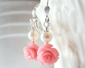 Coral Pink Flower and Pearl Dangle Earrings, Matching Jewelry Sets, Beaded Earings, Guava Ginger Salmon, Flower Girl Jewelry