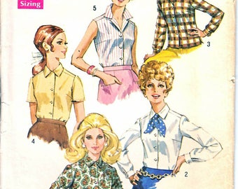 Simplicity 8399 Woman's Long or Short Sleeve Button Front Blouse Sewing Pattern Size 42 Vintage 1960's