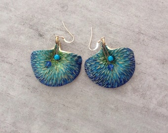 Earrings PEACOCK or tails of polymer clay in green, turquoise and Royal Blue Peacock