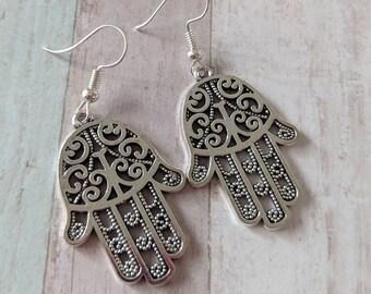 Spiritual earrings, hamsa earrings, hand of Fatima jewelry, spiritual jewelry, protection earrings, protection jewelry, good luck earrings
