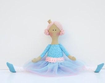 Princess doll Ballerina doll fabric doll cloth doll stuffed doll softie rag doll turquoise blue pink Princess - gift for girls