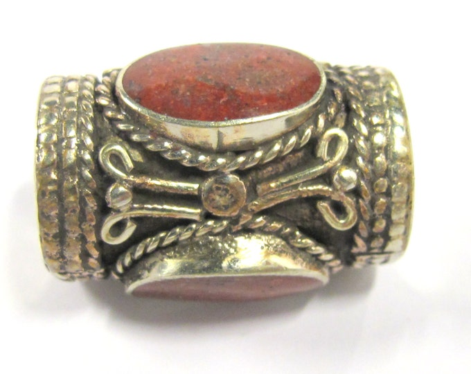 1 Bead -  Large cylinder shape tibetan silver bead with 3 sided coral inlay from Nepal - BD827