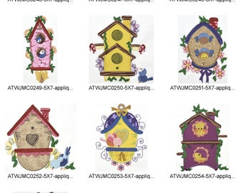 Country-Birdhouses-Applique. ( 10 Machine Embroidery Designs from ATW )