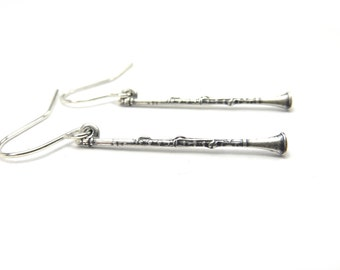 Clarinet Earrings Small Clarinet Dangle Earrings Sterling Silver Ox Finish