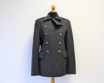 Gray Military Coat  Womens Wool Blend Double breasted Jacket Metal Buttons Medium to Large Size